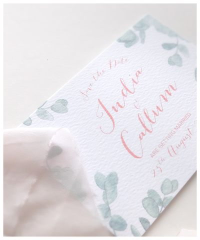 eucalyptus and blush wedding save the date