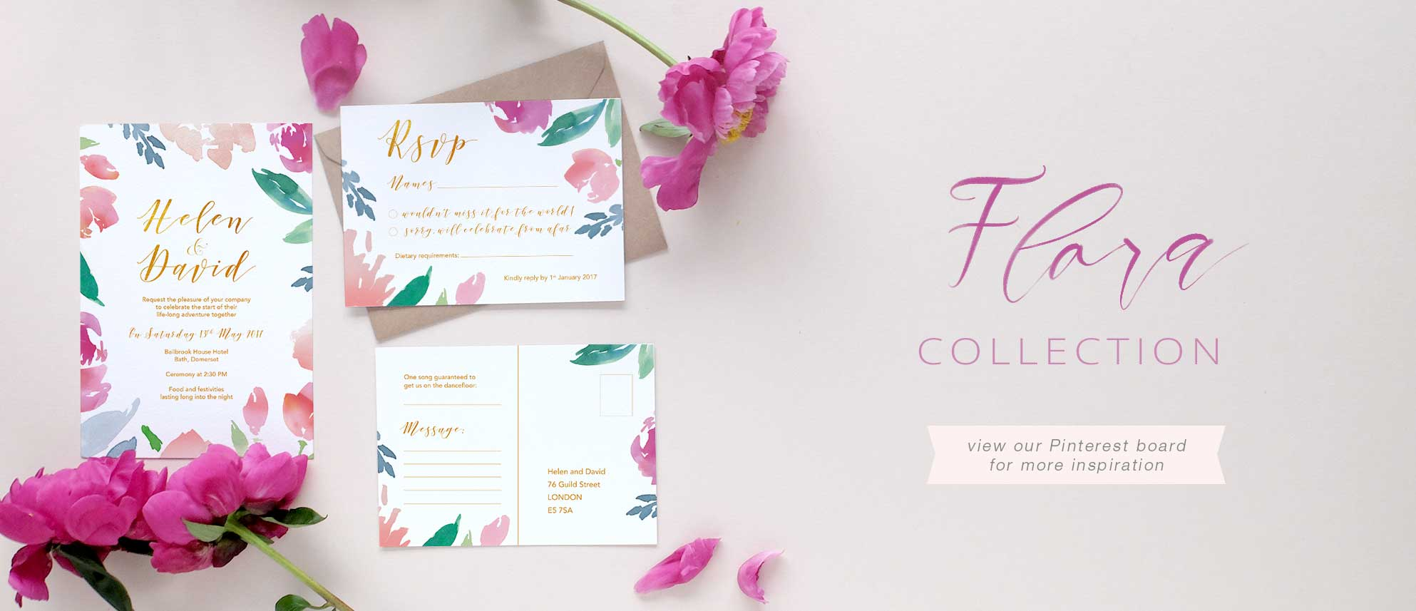 watercolour floral wedding invitation