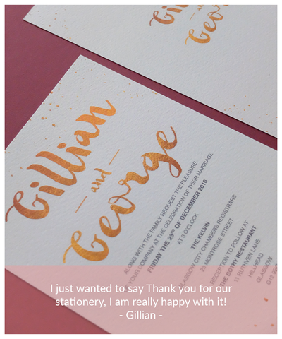 grey and gold wedding invitation
