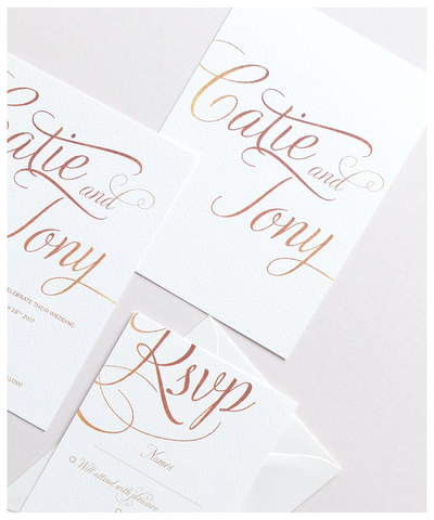 ivory and gold simple wedding invitation