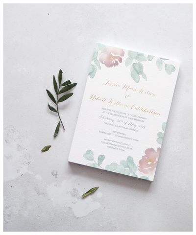 lilac and green wedding invitation