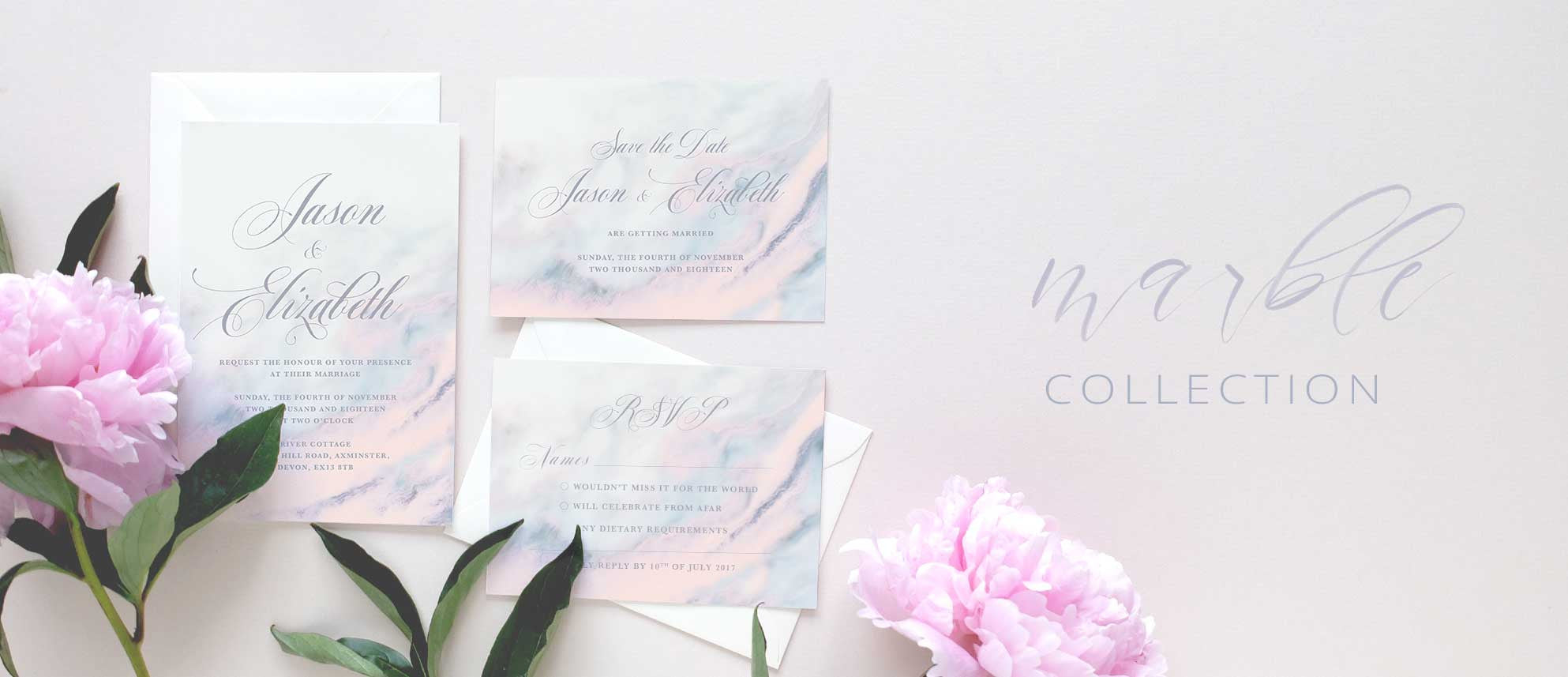 Marble | Wedding invitation collection – Blush and Gold