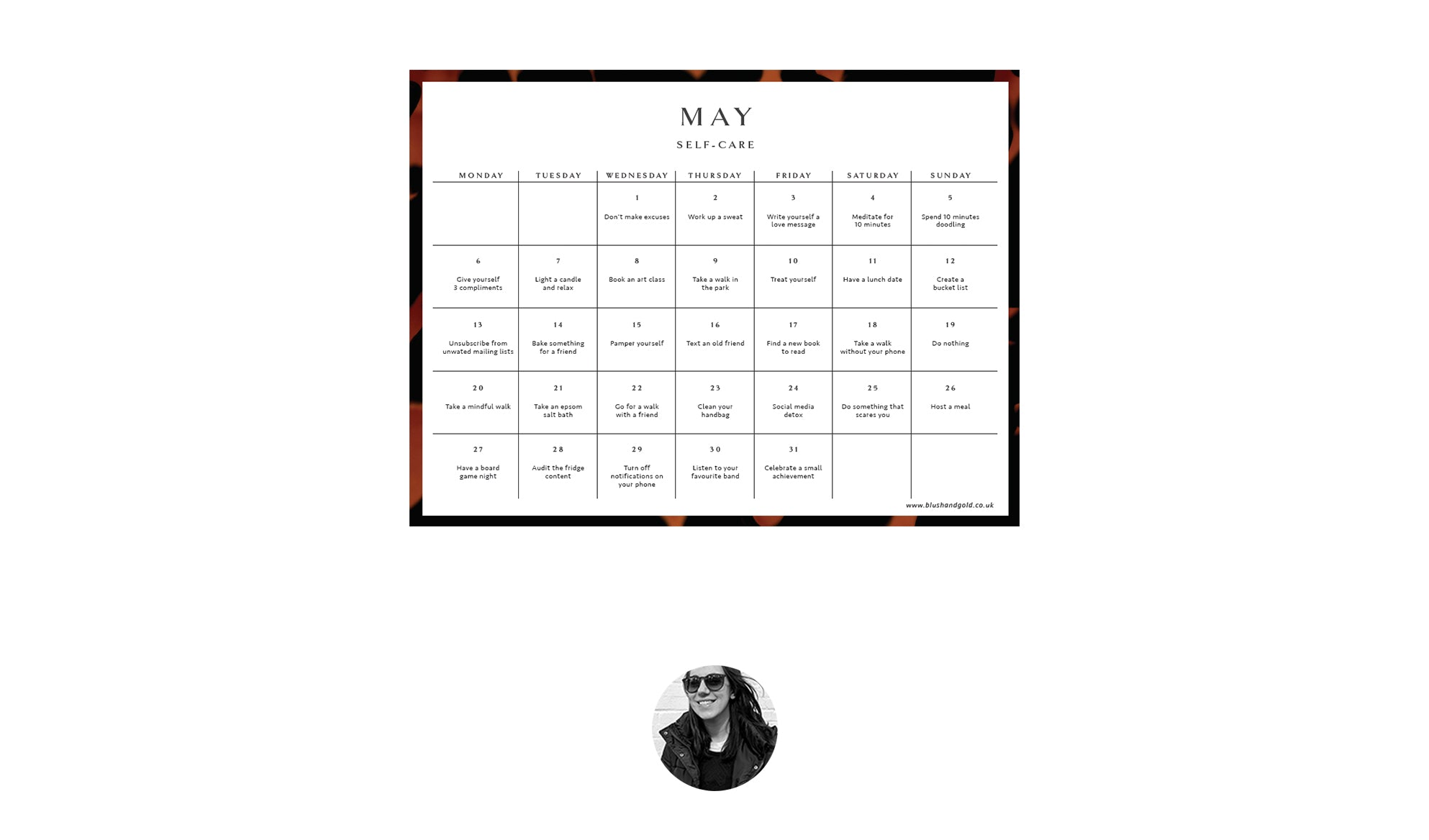 may self care calendar