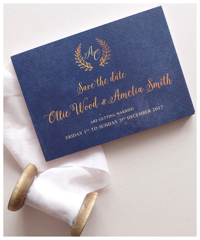 navy wedding save the date