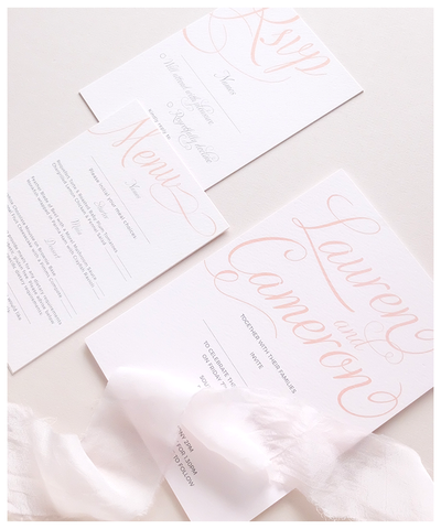 pink and blush wedding invite