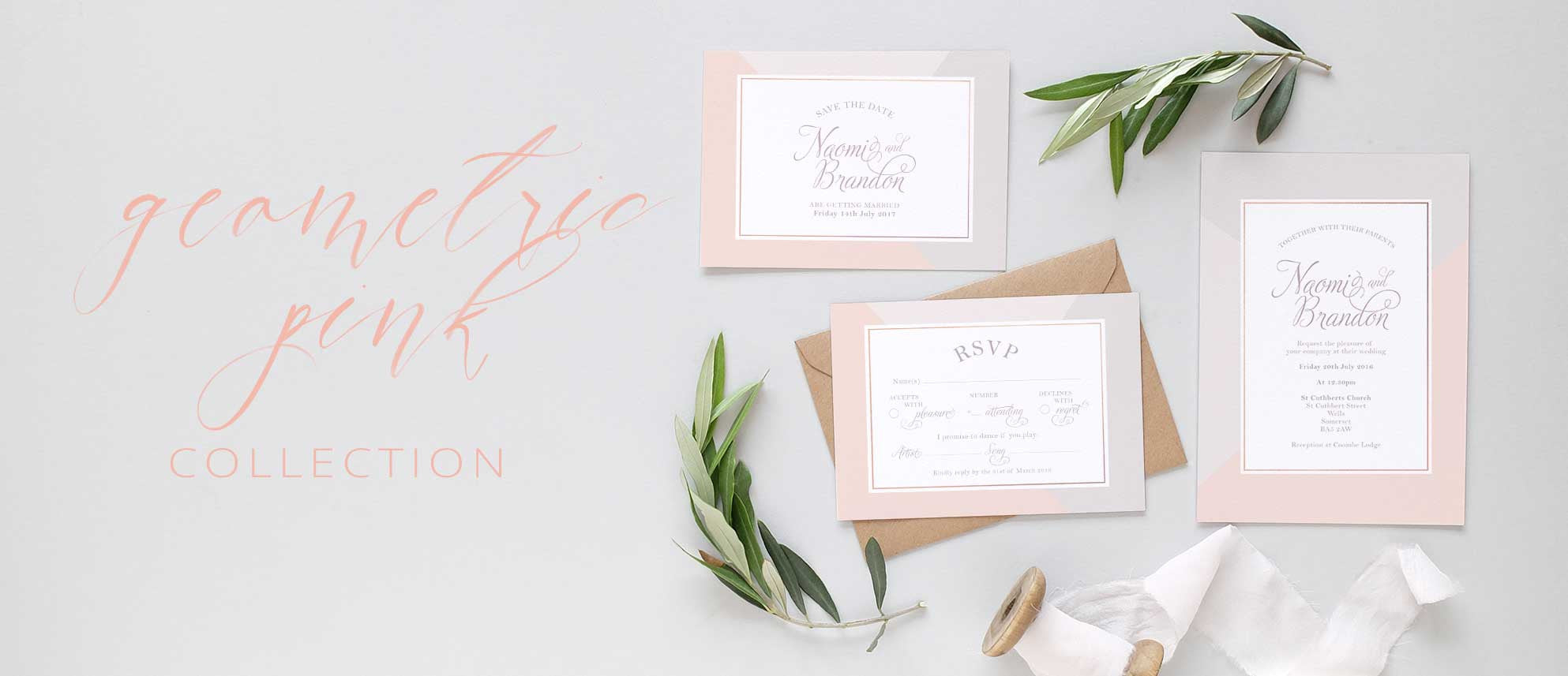 Pink and grey wedding invitation uk