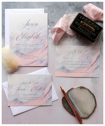grey and pink wedding invites