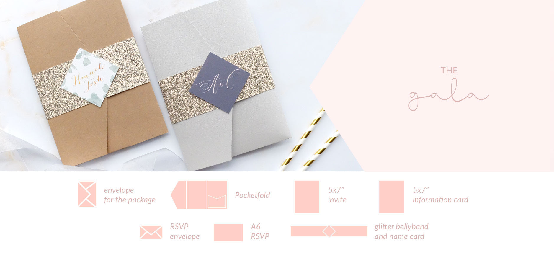 glitter bellyband and pocketfold wedding invitation packages blush