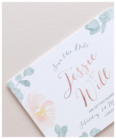 rose gold wedding save the date