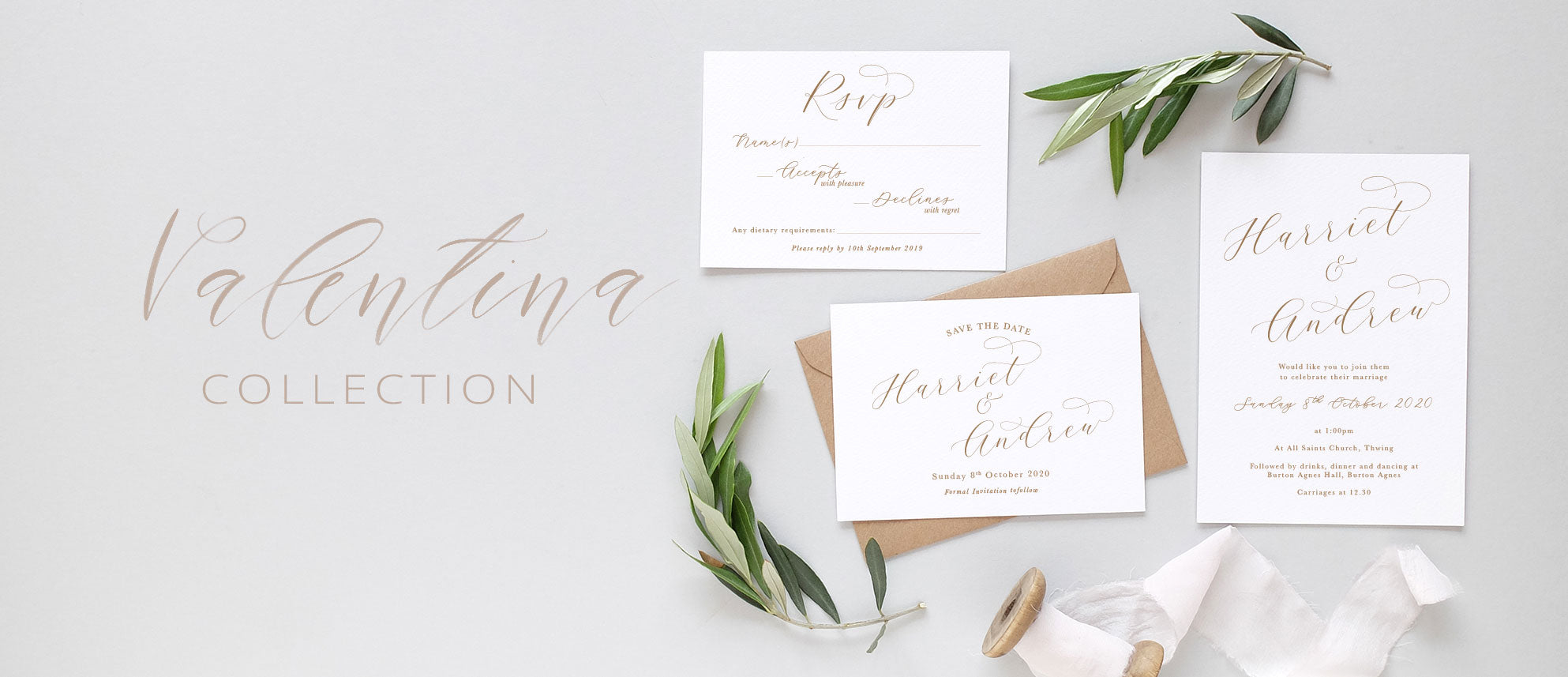minimal calligraphy wedding invite