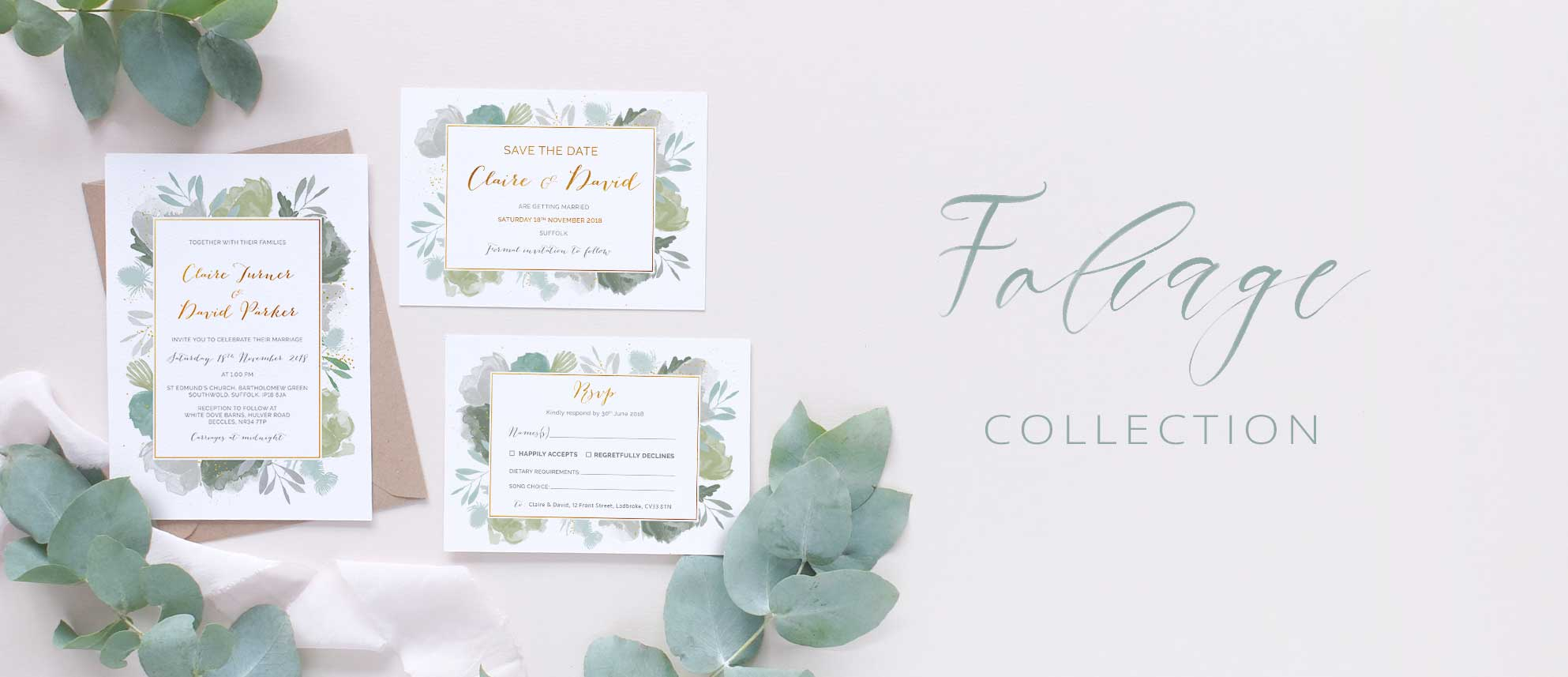 green leaves wedding stationery package