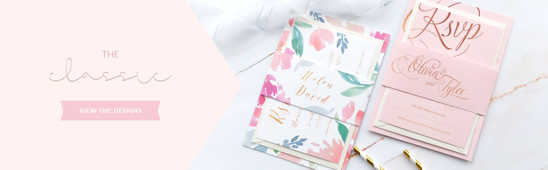 Wedding Invitation Packages Blush and Gold