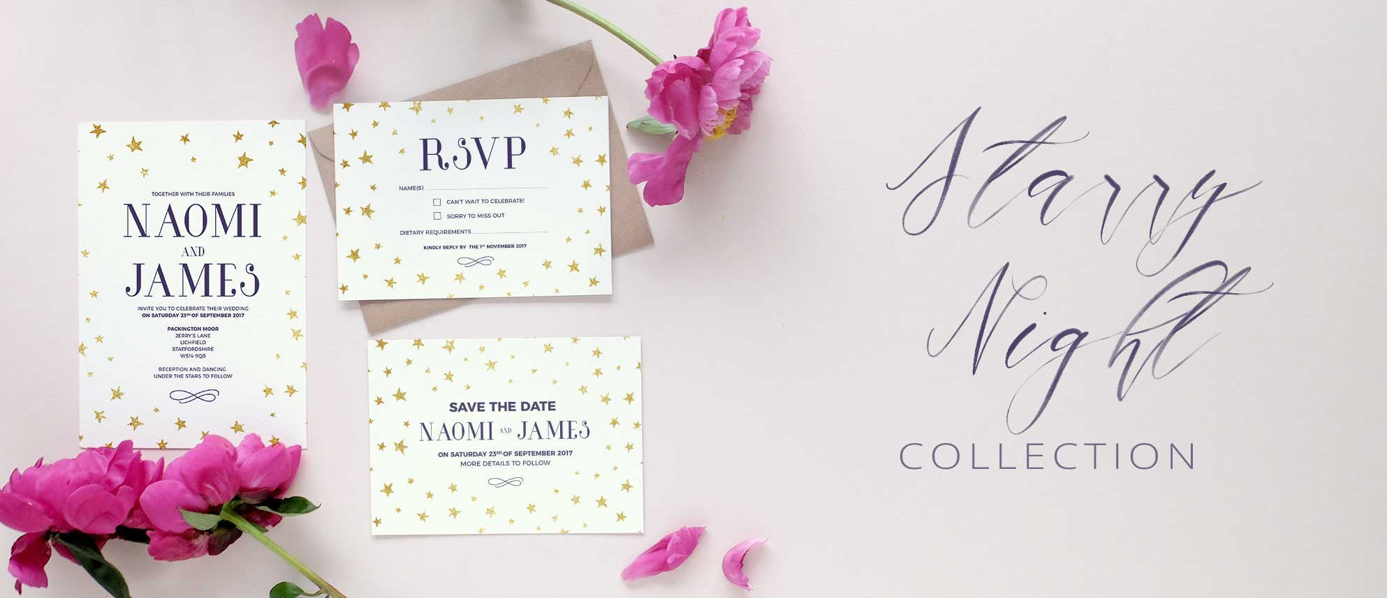 starry night wedding invitation collection - Starry Night Wedding Invitations