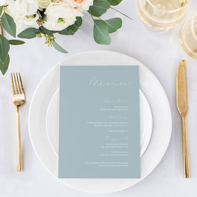 'Dusty Blue' Menu Card