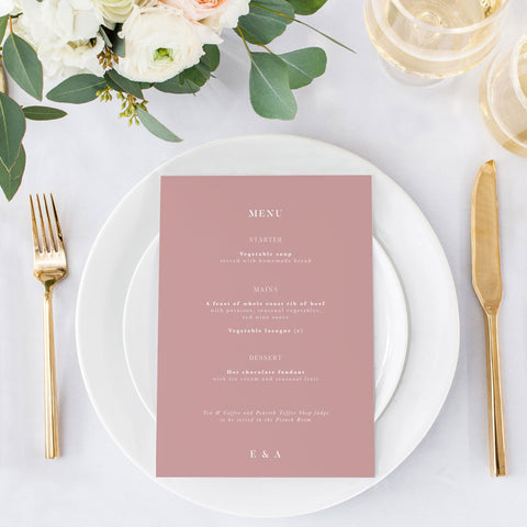 dusty pink wedding menu