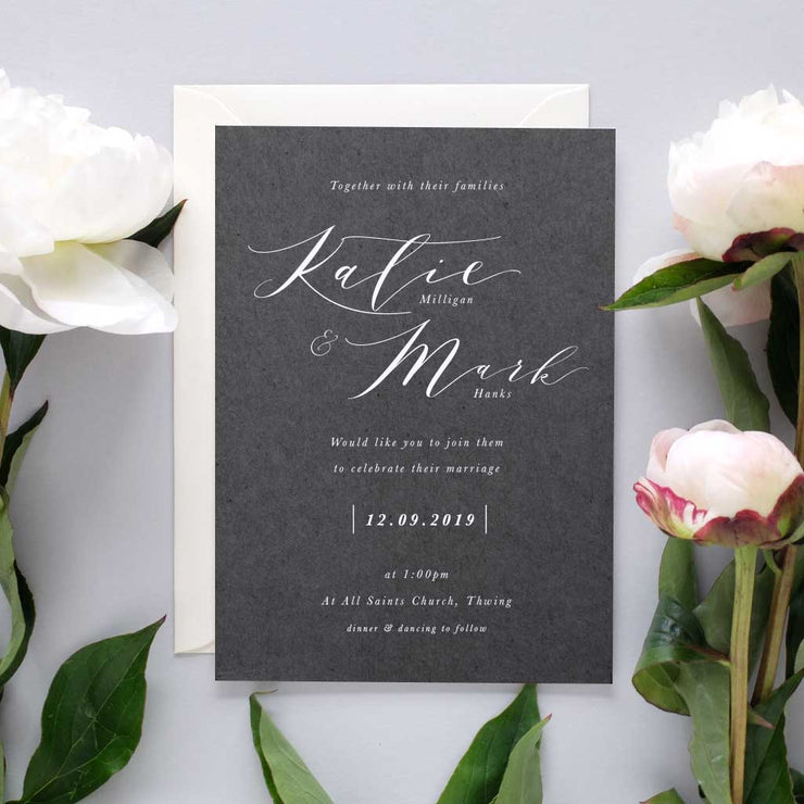 modern calligraphy wedding invite