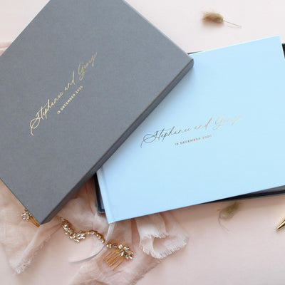 Personalised - Wedding Guestbook Blue with Gold Foil