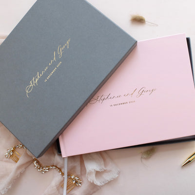 Personalised - Wedding Guestbook Blush with Gold Foil