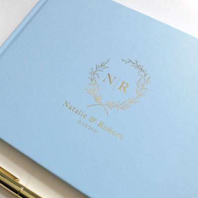 Personalised - Wedding Guestbook Blue with Gold Foil / Wreath