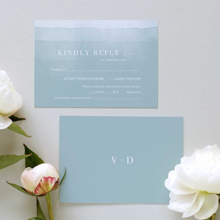 'Dusty Blue' Classic Wedding Invitation Package