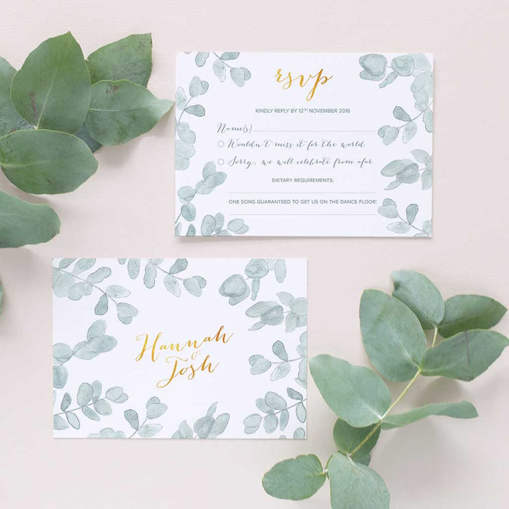 muted green leafy invite