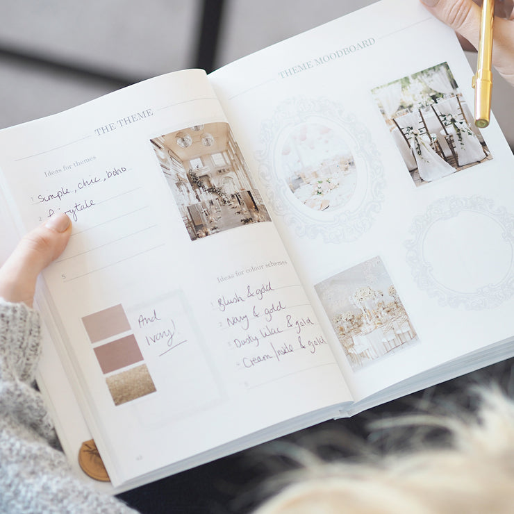 White and Rose Gold Wedding planner book