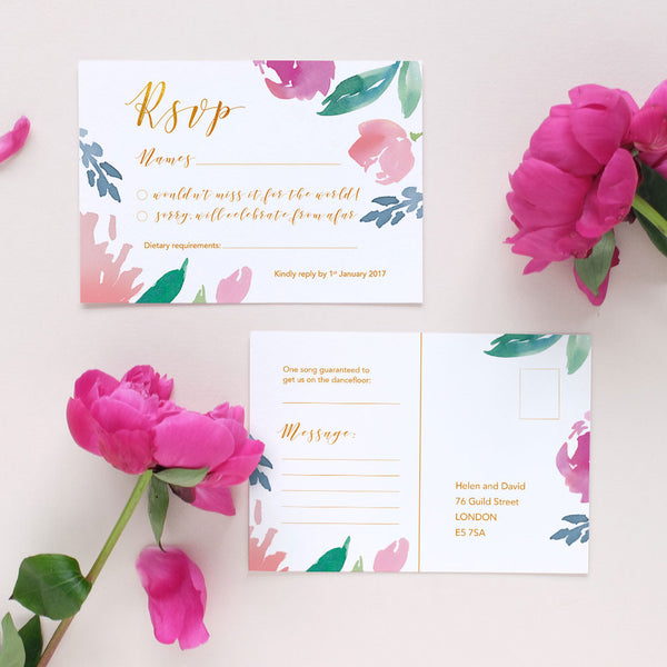 watercolour RSVP card for weddings