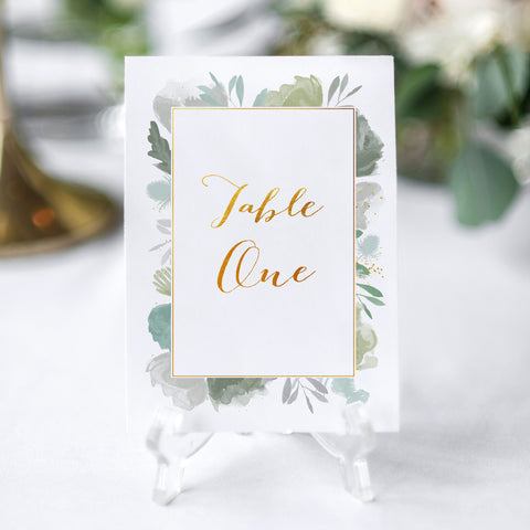 leafy elegant table number for wedding