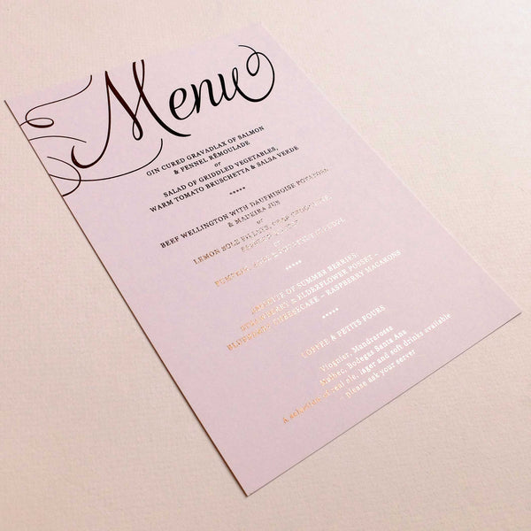Blush and Gold Menu Card - The Luxe Collection Foil