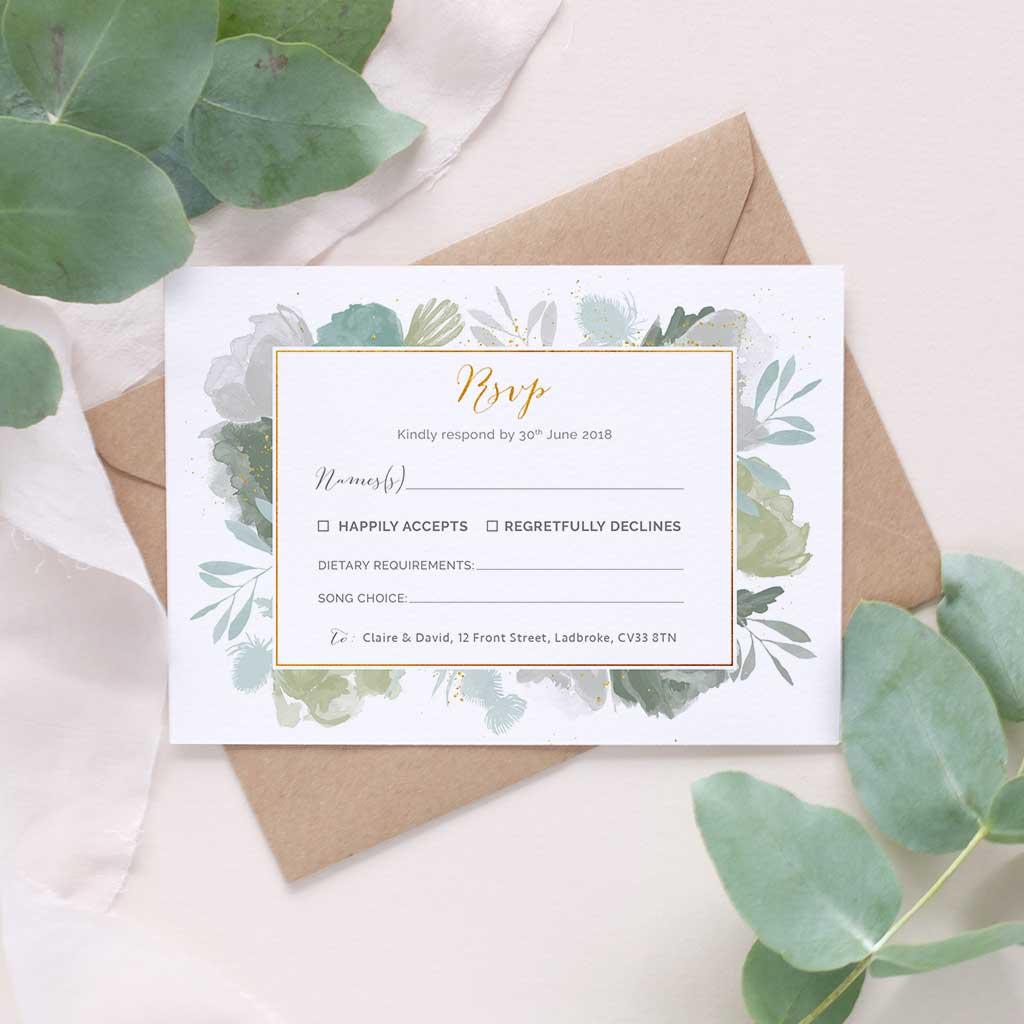 Muted Green Foliage Wedding Invitation Package Blush And Gold