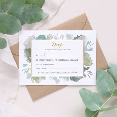 green leafy wedding rsvp card