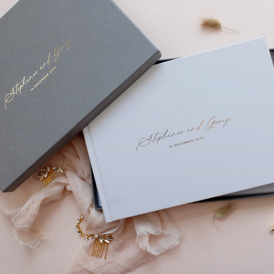 Personalised - Wedding Guestbook Grey with Gold Foil