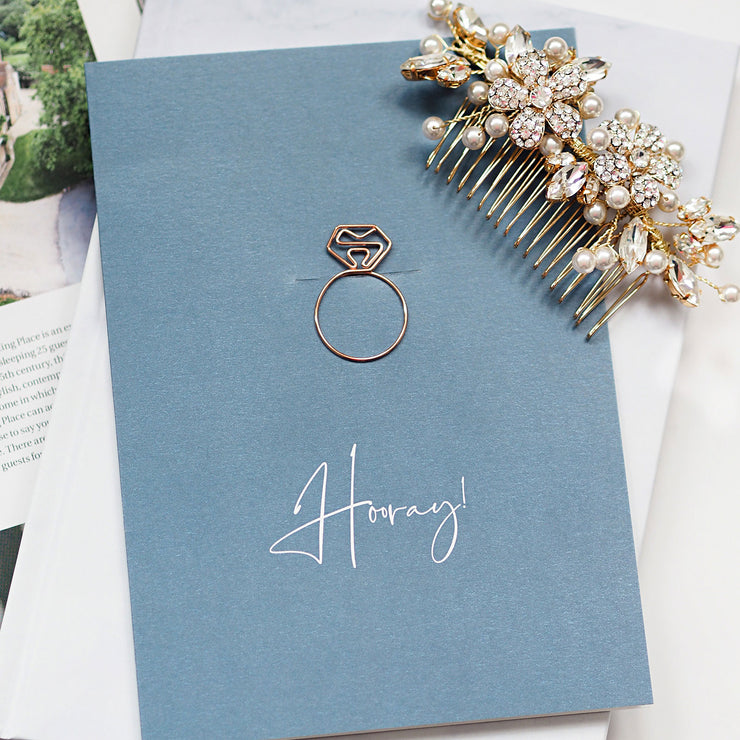 Wedding and engagement congratulations card (Ring) - Horray!