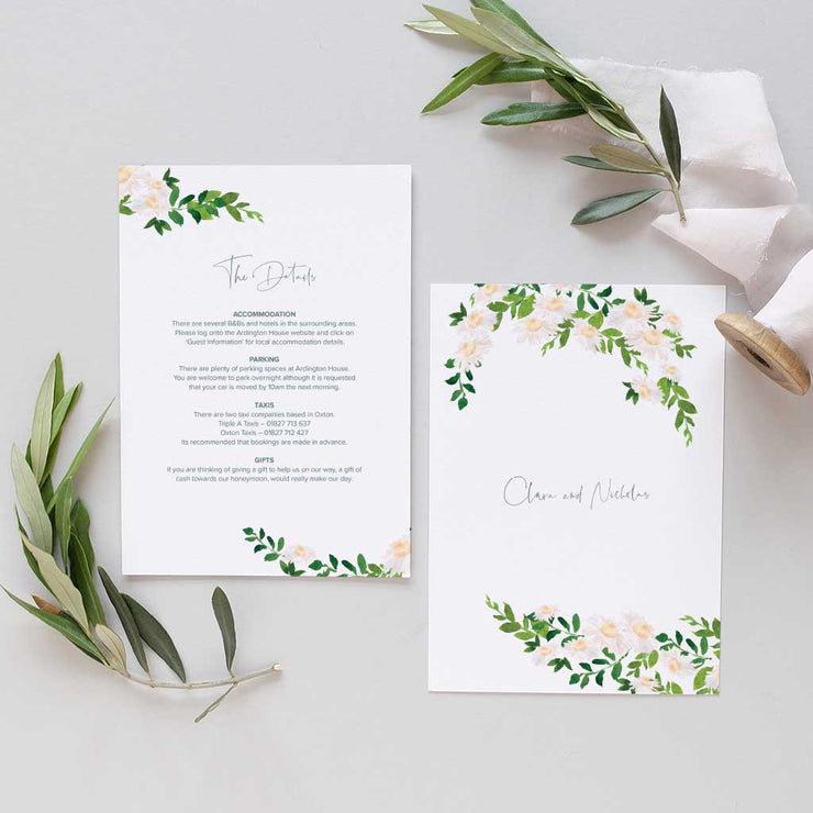 weddings information card