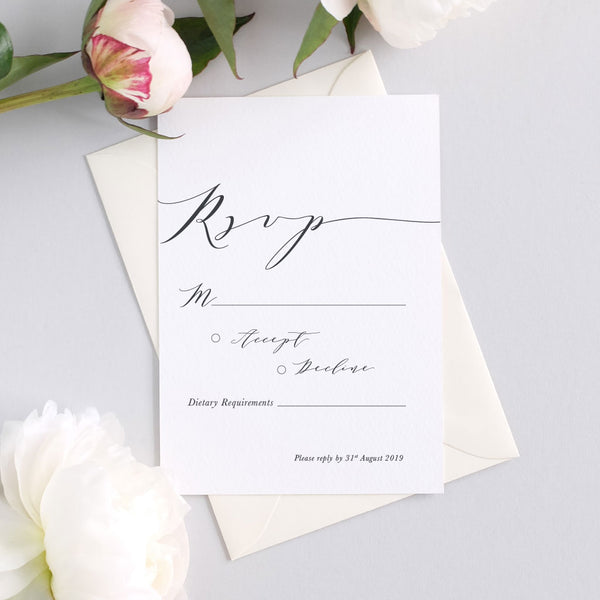 modern calligraphy wedding rsvp card