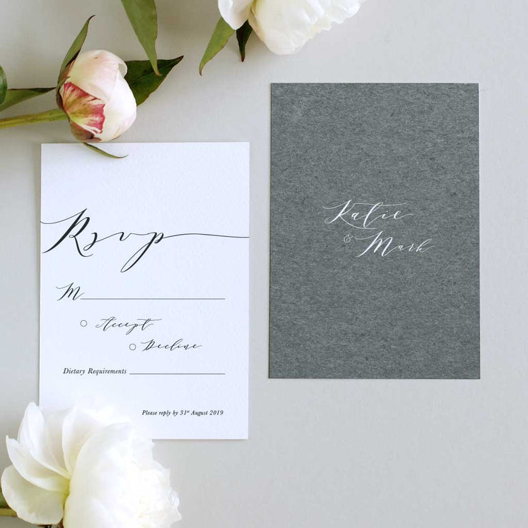 grey wedding invitation package