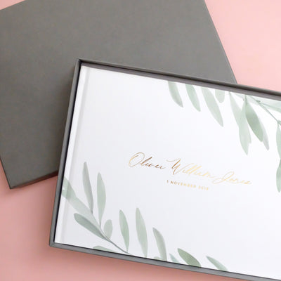 Personalised - Olive Leaves and Gold Foil Luxury Baby Memory Book