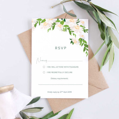 simple daisy wedding rsvp card