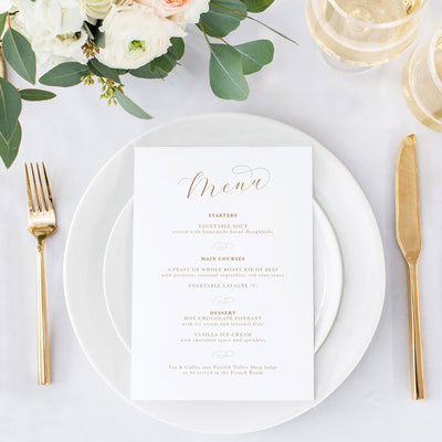 Elegant simple wedding menu calligraphy