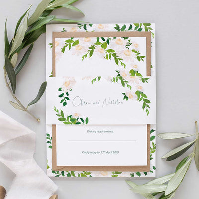 watercolour daisy wedding invitation package
