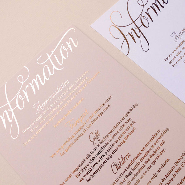 Blush and Gold Information card - The Luxe Collection Foil