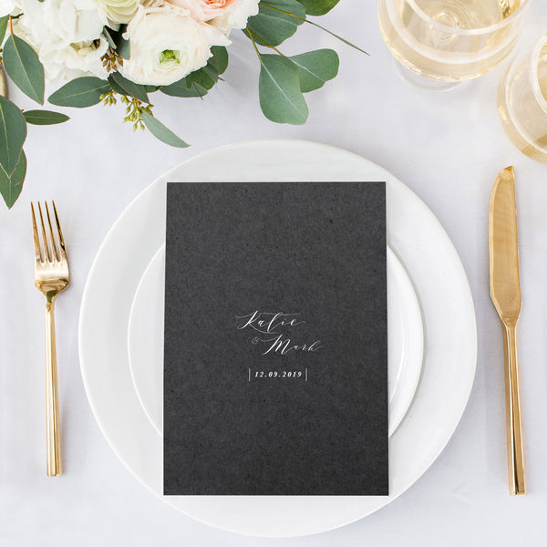 modern calligraphy wedding menu design