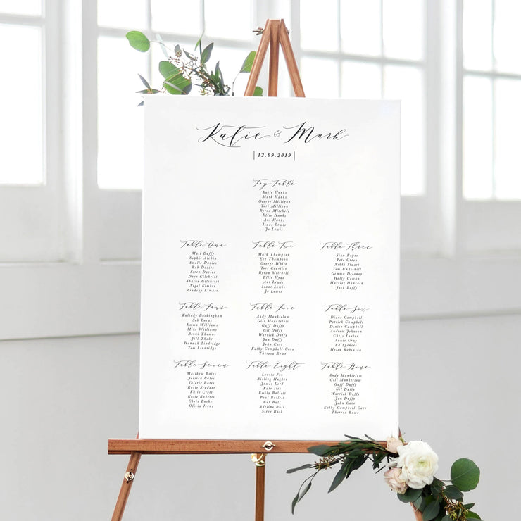 modern calligraphy table plan