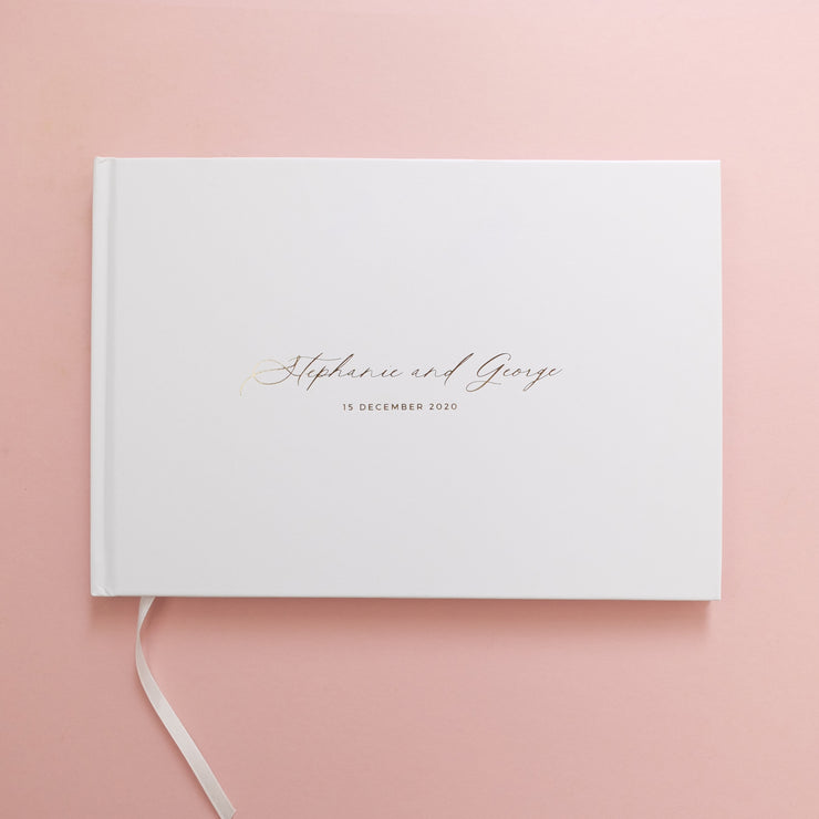 Personalised - Wedding Guestbook White With Gold Foil