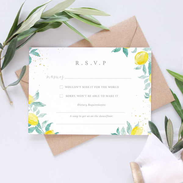 lemon tree wedding invitation package