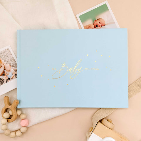 Light Blue and Silver Foil Luxury Baby Memory Book