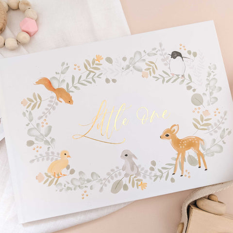 Little One - Woodland and Gold Foil Luxury Baby Memory Book