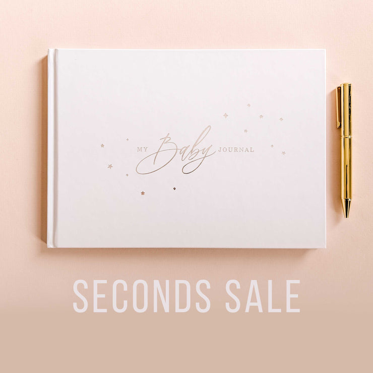 SECONDS SALE Baby Journal - White and Silver Foil Luxury Baby Memory Book