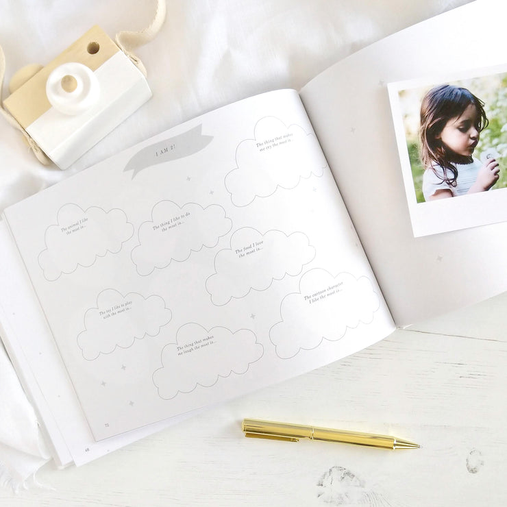 Little One - Grey and Gold Foil Luxury Baby Memory Book