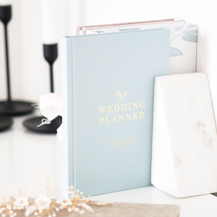 Dusty Blue and Gold Wedding planner book